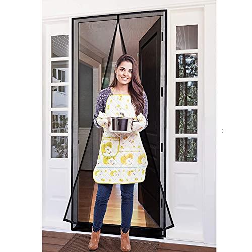 YUFER Magnetic Screen Door 32×82 Reinforced Fiberglass Screen Door Magnets Screen for Doorway Sliding Door mesh with Full Frame Hook&Loop - Grey