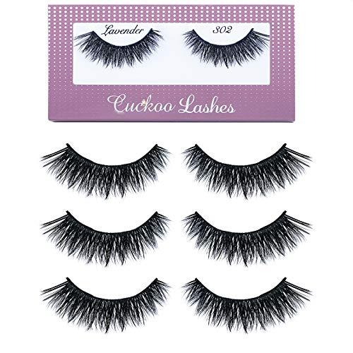 Cuckoo False Eyelashes 3D Faux Mink Eyelashes Korea PBT Fiber False Lashes 100% handmade cat eye - 302 (3Pairs)
