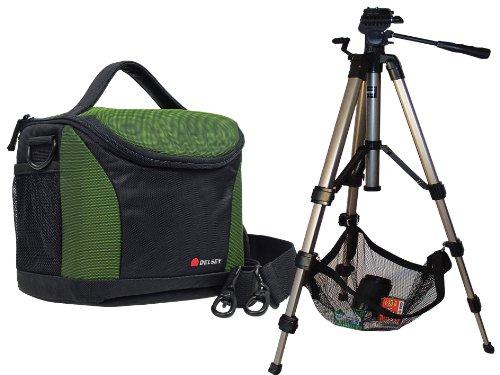 Foto Borsa Camera Bag Delsey delpix II 170Nero/Verde in Set con treppiede da viaggio