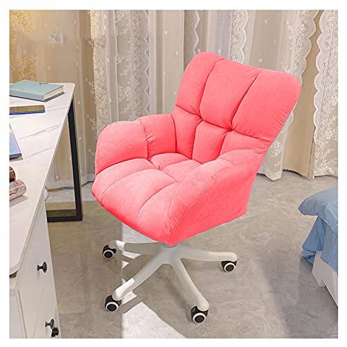 Silla de escritorio para computadora de tela de algodón y lino Silla de trabajo de oficina en casa con acento ajustable giratorio de 360 grados con sillón de asiento suave Estudio para estudiantes