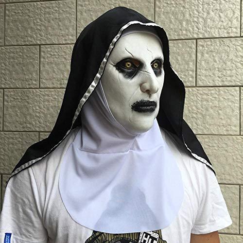 ABEQW Halloween Maske Nonnenmaske Halloween Horror gruselig gruseliges weibliches Gesicht, geeignet für Feste, Partys, knifflige Partys-Halte den Mund, Halt den Rand, Halt die Klappe