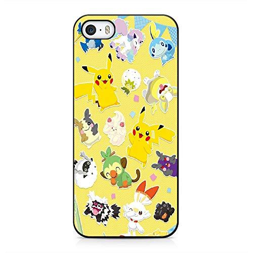 RO&CO Funda iPhone 5 / iPhone 5S / iPhone SE Case Pokémon Pikachu Black Silicone Soft Case I-012