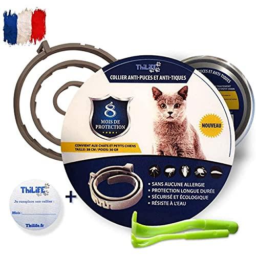Thilife: Collar antipulgas y garrapatas Ajustable para Perros pequeños y Gatos   Antiparásitos  8 Meses de protección  2 Clips para Quitar garrapatas Gratis   Base de Aceite de citronela  Impermeable