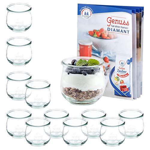 MamboCat set van 12 weckflesjes 370 ml + receptenboekje | jamppotten helder | Ø 9 cm | levensmiddelen inkoken, bewaren en bewaren | weck-accessoires