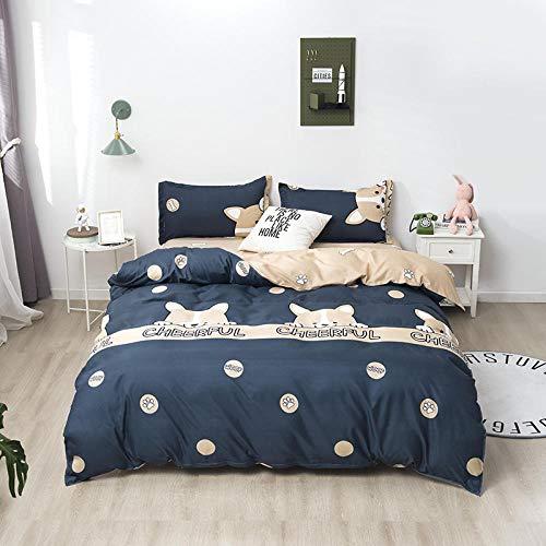 WSNALGQ Oso Animal Caqui Azul Juego de Ropa de Cama 4 Piezas para Cama Funda de edredón 200x230cm Material de algodón 1 Sábana 2 Funda de Almohada 50 * 75cm