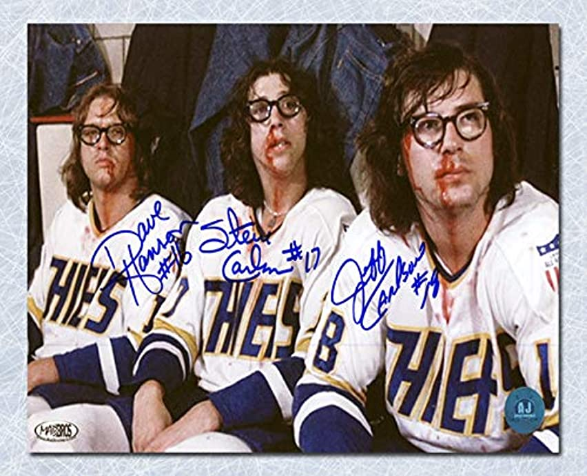 The Hanson Brothers Triple Autographed Slap Shot Post Fight Bloody 14X20 Photo - Signed Hockey Pictures