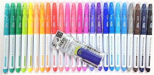 Pilot FriXion Colors Erasable Marker Pen, 24 Colors Set & FriXion Eraser Light Blue with Original Vinyl Pen Case