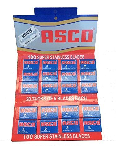 100 lamette Asco Super Stainless (Rosse e Blu)