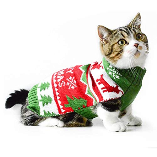 SKLOER Christmas Pet Costumes for Dogs Cute Cats and Dogs Warm Sweater Clothing Funny Holiday Party Dresses Suitable for Small and Medium-Sized Dogs and Cats Soft and Breathable Dog Shirt-S