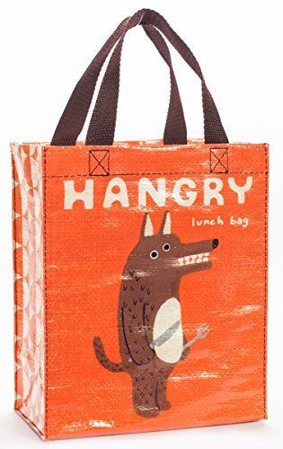 """Price comparison product image Blue Q Handy Tote ~ Hangry. Reusable lunch bag,  little tote,  gift bag,  sturdy and easy to clean,  made from 95% recycled material,  10""""h x 8.5""""w x 4.5""""d"""