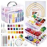 Caydo 254 piezas Kit de bordado con instrucciones, 162 hilos de color con caja de almacenamiento transparente de 3 niveles, 3 piezas de tela Aida, aros de bordado y herramientas de punto de cruz para