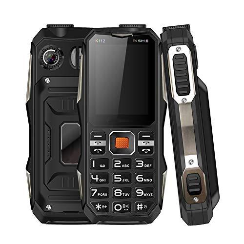 Goshyda Mini teléfono de 2.4 '', 3200mAh Extendido 32GB Frontal Trasero HD Teléfono móvil con Doble cámara con 3 Tarjetas SIM y Funciones de Linterna y Banco de energía, para los Mayores(Negro)