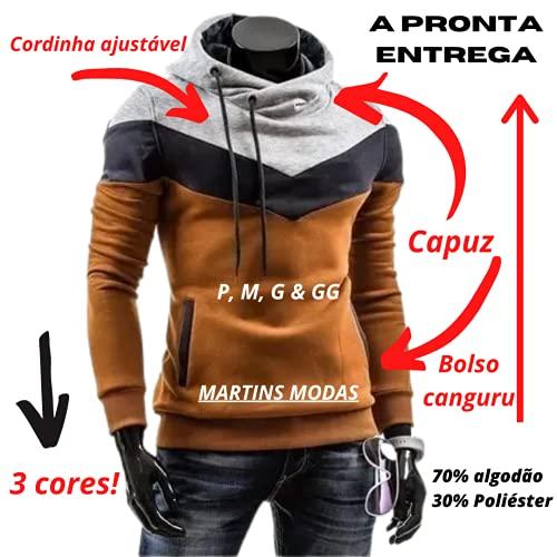 Moletom Slim 3 Cores Masculino Criativa Urbana Blusa Com Capuz Caramelo