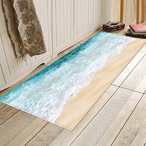 HLXX Alfombrillas de baño Alfombra de Cocina Alfombra Antideslizante para Piso de Dormitorio Pasillo Alfombra de área de Porche Alfombra de Entrada Alfombras Estampadas en la Playa A1 60x180cm