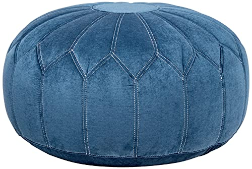 Madison Park Kelsey Round Floor Pillow Pouf Large-Soft Fabric, Polystyrene Beads Fill Ottoman Foot Stool-1 Piece Mid-Century Modern Floral Design Oversized Beanbag, Blue