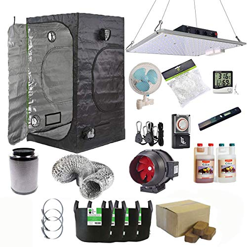 Gardeners Corner 120x120x200cm Tent Kit with 1000w Full Spectrum LED Coco Coir Canna Coco & More