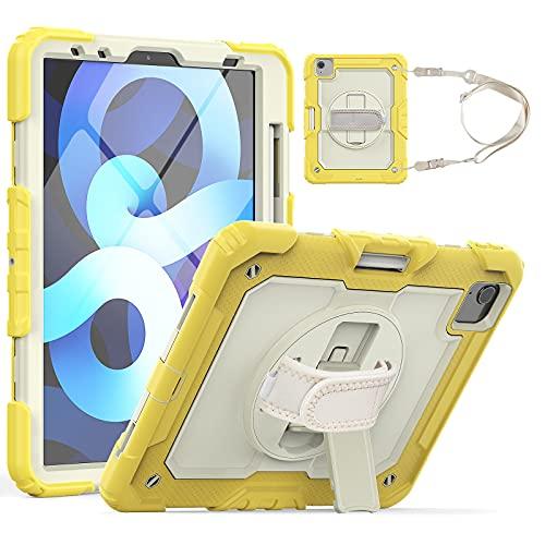 HaoHZ Funda para iPad Pro 11 2nd / 3rd Generation 2021/2020/2018 con Portalápices, Funda Protectora De Silicona A Prueba De Golpes + Soporte + Asa para Hombro,Amarillo