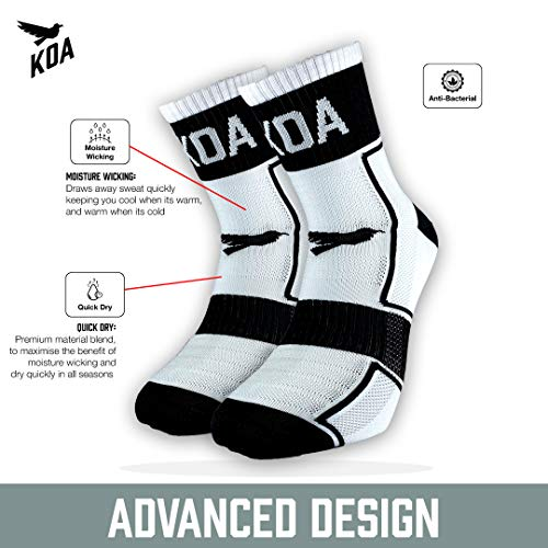 KOA® ELITE Performance High visibility Cycling and Running Socks, Light compression arch support for Men and Women ¦ All season, Seat wicking, Quick Dry sports sock. [WHITE] [FEARLESS]