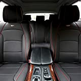 TLH Ultra Comfort Leatherette Seat Cushions Full Set, Black Red Trim Color-Universal Fit for Cars, Auto, Trucks, SUV