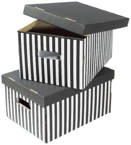 COMPACTOR 2erSet Boxen aus Wellpappe, Mit Transportgriffen, Stapelbar, Schwarz, 40x31x21cm, RAN613
