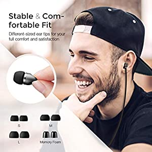 Mpow Wired Earphone in-Ear Headphone, Inline Control, Built-in Mic, Light-Weight, Stereo for iPhone, iPod, iPad, Samsung, Smartphones, MP3 Player