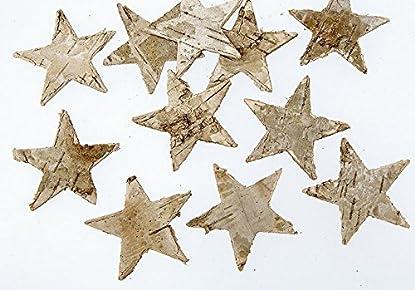 Foto di 100 stelle in legno di betulla e corteccia di betulla, decorazione natalizia autunnale, corteccia di legno, betulla, decorazioni, stelle di corteccia