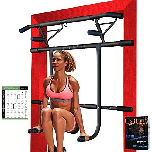 Kaufam Pull Up Bar Doorway with Dip Bar Station Chin Up Bar Doorframe No Screw Hammer Grip Pullup Handles, Home Workout Equipment for Home Gym Indoor Exercise US Invention Patent