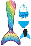 Decool Neu Mädchen Meerjungfrau Schwanz Badeanzug - Prinzessin Cosplay Bademode für das Schwimmen mit Bikini Set und Monoflosse, 4 Stück Set, Mehrfarbig (Ps13), 150