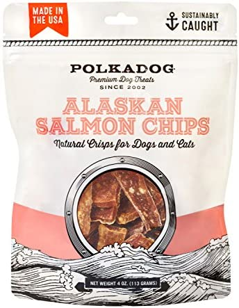 Polkadog Crunchy Alaskan Salmon Chips Dog Treats 100 Wild Caught Fish Treat for Dogs Cats All product image