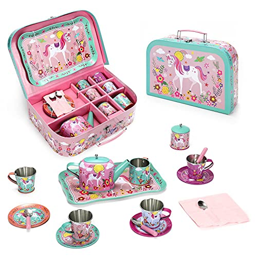 SOKA Unicorn Metal Tin Teapot Set with Carry Case Toy for Kids - 18 Pcs...