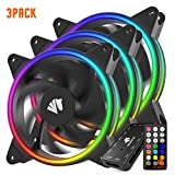 Asiahorse Solar ECLIPSEIII-120mm Three Light Loop RGB Interactive Music Cooling Fan with 3nd gen RF Remote Controller for PC Case,Water Cooling Radiators System(3 Pack)
