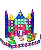Playmags Juego de 150 piezas de azulejos de construcción magnéticos: bloques de construcción 3D magnéticos transparentes, imaginación creativa, inspiradora, juego de simulación y convencional educativo
