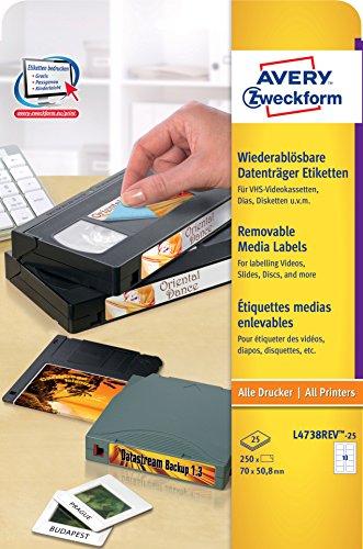 AVERY Zweckform L4738REV-25 Etiketten für Disketten (250 Aufkleber, 70x50,8 mm auf A4, bedruckbar, selbstklebend, wiederablösbar, für Disketten und Mini-Disc Hüllen) 25 Blatt, weiß