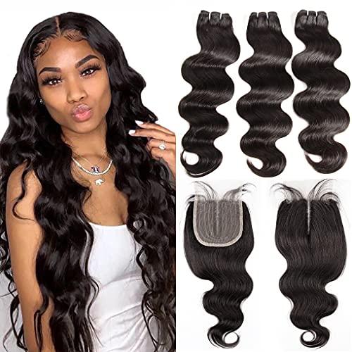 Brazilian Body Wave Bundles with Closure 8A Unprocessed Virgin Hair 3 Bundles with 4x1 Middle T Part Lace Closure (10 12 14+10) 10A Ocean Wave Human Hair Bundles with Closure 70g/bundle