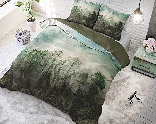 SLEEP TIME Bettwäsche Baumwolle Schöner Wald, 200cm x 220cm, Mit 2 Kissenbezüge 60cm x 70cm, Grün