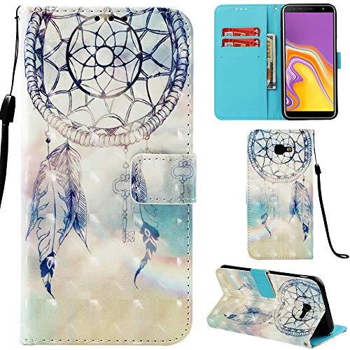 Ooboom Samsung Galaxy J4 Core Hülle 3D Flip PU Leder Schutzhülle Stand Handy Tasche Brieftasche Wallet Hülle Cover für Samsung Galaxy J4 Core - Traumfänger Blau
