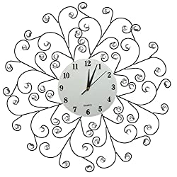 "Lulu Decor, Creeper Decorative Metal Wall Clock 24.50, 9.5"" White Glass Dial with Arabic Numbers for Living Room, Bedroom, Office Space"