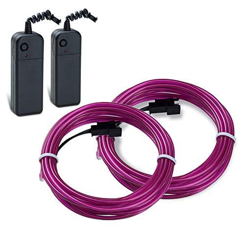 Sunboia 5M EL Wire Portable Sound Activated Neon Glowing Strobing EL Kabel Wire mit 3 Modis Elektrolumineszenz Rope für Partybeleuchtung Weihnachtlicher Zierschmuck (Lila)