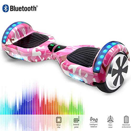 CHIC 6.5 Inch Balance Board Self Balancing Electric Scooter Skateboard Wheels with LED Light Motor 700W Bluetooth for Kids and Adults (Camouflage Pink)
