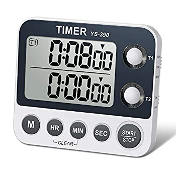HomeMall Digital Dual Kitchen Timer Cooking Timer Dual Count Up & Down Timer with Magnetic Back Large Display Adjustable Volume and Flashing Alarm Light ON/Off Switch Stopwatch Battery Included