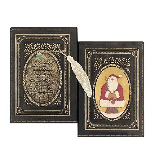 Wonderpool cuero realzado del cuaderno de la navidad con el cobre marca - antiguo a5 bound arte de papel de regalo de viajes sketchbook poesía álbum diario para escribir en (Dorado)