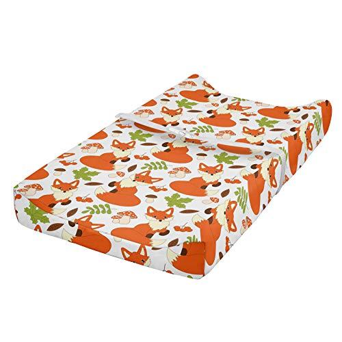 ABAKUHAUS zorro Cubierta del cambiador, Bosque fauna y flora, Funda blanda para el cambiador de pañales con agujeros para la hebilla de seguridad, Marrón Naranja Verde Manzana