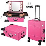 Byootique Hot Pink Tabletop Makeup Train Case Wheeled LED Light Mirror Cosmetic
