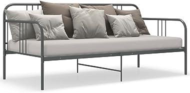 VIENDADPOW Lits & Cadres de lit Cadre de canapé-lit Gris Métal 90x200 cm