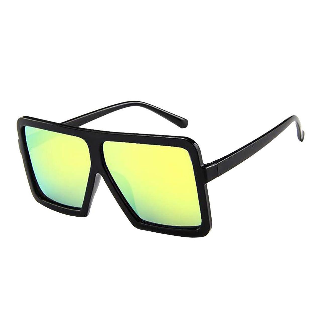 振動する有名な自動サングラスサングラス男性と女性のファッションサングラスレトロメガネUVユニセックスラージフレームサングラスメガネ平面ミラーメガネ超軽量を運ぶのは簡単野生の偏光スポーツサングラス (イエロー)