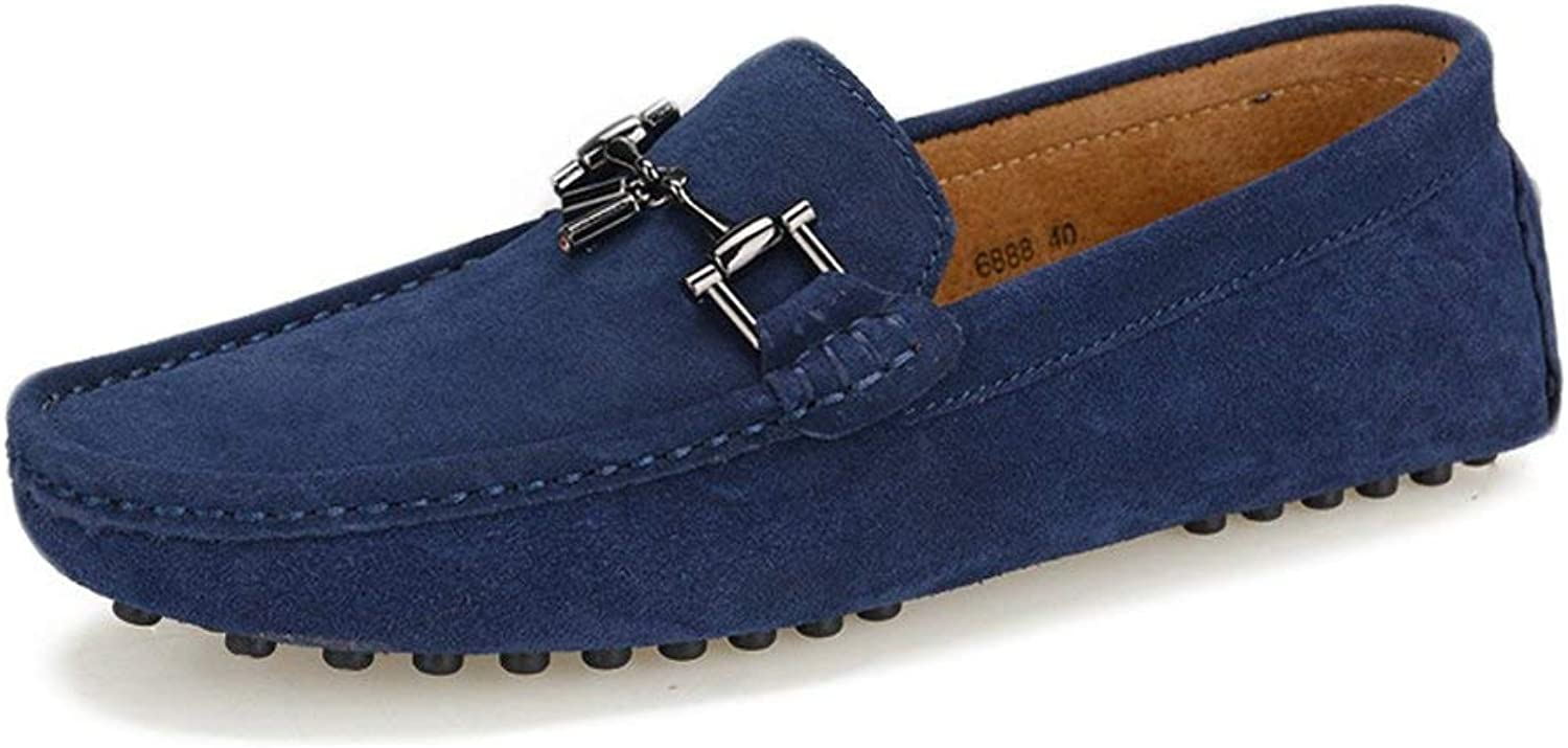 Hhgold Men's Moccasins shoes, Men Driving Penny Comfort Loafers Suede Genuine Leather Boot Moccasins Studs Sole with Metal Decor (color  Navy, Size  43 EU) (color   Marine, Size   43 EU)