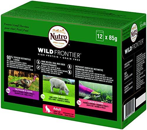 NUTRO Katzenfutter Nassfutter Wild Frontier Adult 1+ Auswahl in Pastete, 12 Portionsbeutel (1 x 12 x 85g)