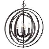 Kira Home Orbits 18' 4-Light Modern Farmhouse Orb/Globe Pendant Chandelier + Pivoting Interlocking Rings, Adjustable Height, Hand Painted Trim + Antique Bronze Finish