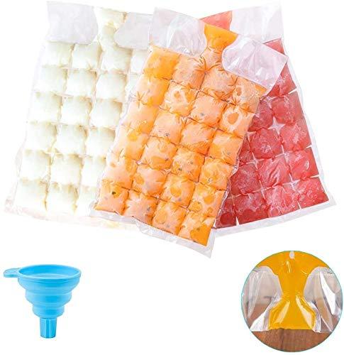 Bolsas de cubitos de hielo desechables, 30 bolsas de congelador, 720 cubitos de hielo, bandejas de molde de cubitos de hielo de polietileno de grado alimenticio, autosellado más rápido para congelar