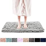 FRESHMINT Chenille Bath Rugs Extra Soft Fluffy and Absorbent Microfiber Shag Rug, Non-Slip Runner Carpet for Tub Bathroom Shower Mat, Machine-Washable Durable Thick Area Rugs (16.5' x 24', Light Gray)